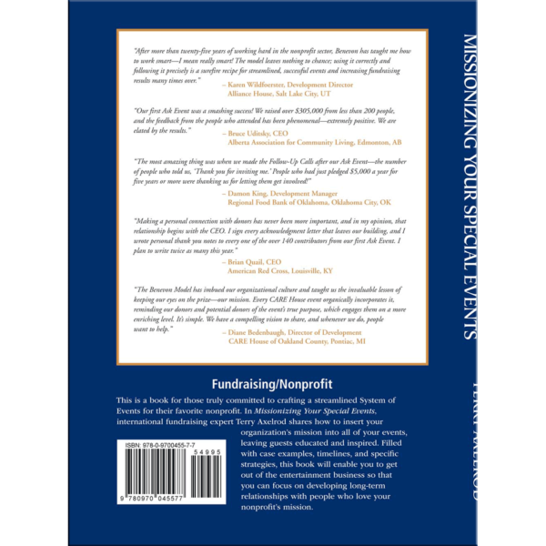 Missionizing Your Special Events Benevon Terry Axelrod Development Nonprofits