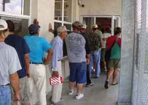 The line at the food bank Corpus Christi Metro Ministries