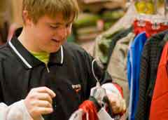Boy selecting clothes