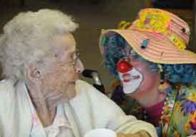 Lutheran Homes resident and a clown